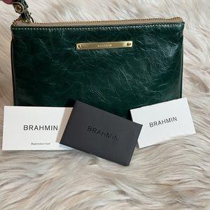 Brahmin Sally Green Smooth Leather Wristlet